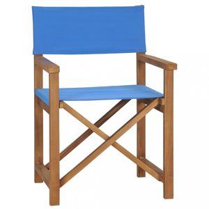 Režisérská židle teakové dřevo Dekorhome Modrá