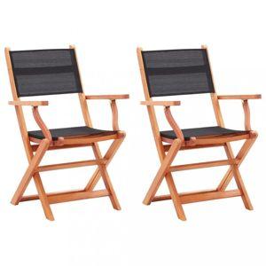 Skládací zahradní židle 2ks eukalyptus / textilen Dekorhome Černá