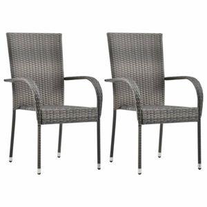 Zahradní stohovatelné židle 2 ks polyratan Šedá