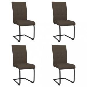 Konzolové jídelní židle 4 ks látka / kov Dekorhome Hnědá