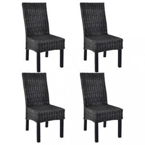 Jídelní židle 4 ks ratan / mangovník Dekorhome Černá