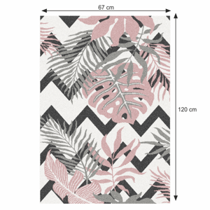 Koberec SELIM šedá / růžová / bílá Tempo Kondela 67x120 cm