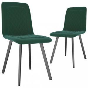 Jídelní židle 2 ks samet / kov Dekorhome Zelená