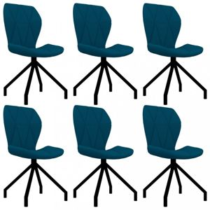Jídelní židle 6 ks umělá kůže Dekorhome Modrá