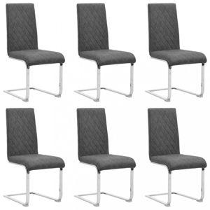 Konzolové jídelní židle 6 ks umělá kůže / kov Dekorhome Tmavě šedá