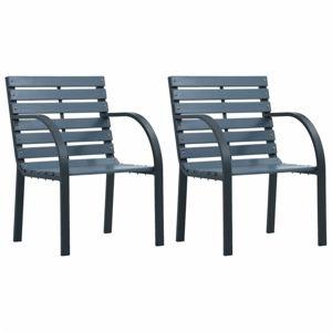 Zahradní židle 2 ks dřevo / ocel Dekorhome Šedá