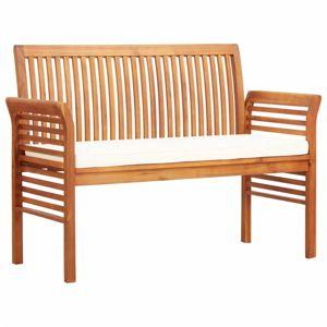 Zahradní lavice 120cm akáciové dřevo Dekorhome Krémová