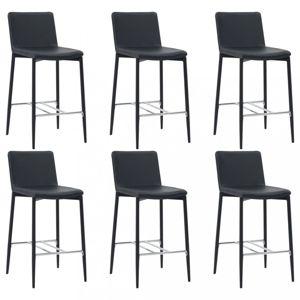 Barové židle 6ks umělá kůže / kov Dekorhome Černá