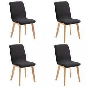 Jídelní židle 4 ks látka / dub Dekorhome Černá