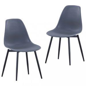 Jídelní židle 2 ks plast / kov Dekorhome Šedá