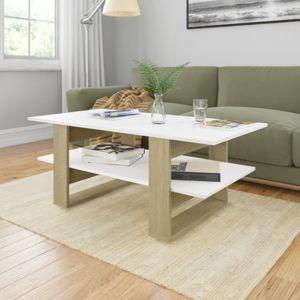 Konferenční stolek 110x55 cm dřevotříska Dekorhome Bílá / dub sonoma
