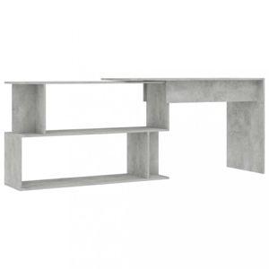 Rohový psací stůl s policemi Dekorhome Beton