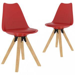 Jídelní židle 2 ks plast / umělá kůže / buk Dekorhome Červená