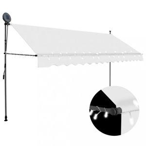 Ručně zatahovací markýza s LED světlem 350 cm Dekorhome Krémová