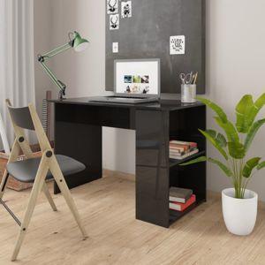 Psací stůl s policemi 110x60 cm Dekorhome Černá lesk