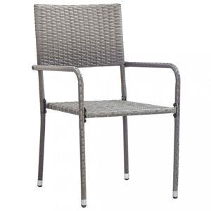 Zahradní jídelní židle 2 ks šedá Dekorhome