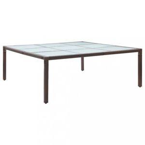Zahradní stůl 200 x 200 cm polyratan / sklo Dekorhome Hnědá