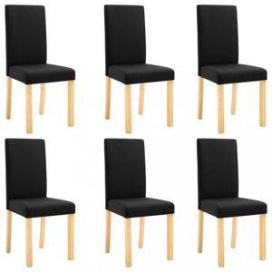 Jídelní židle 6 ks látka / dřevo Dekorhome Černá