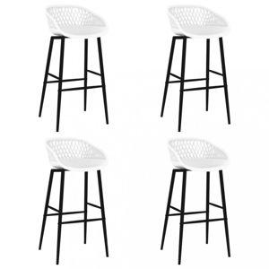 Barové židle 4 ks plast / kov Dekorhome Bílá