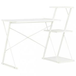 Psací stůl s policemi dřevotříska / ocel Dekorhome Bílá