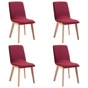 Jídelní židle 4 ks látka / dub Dekorhome Červená