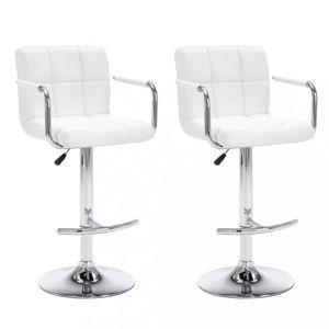 Barové židle 2 ks umělá kůže / kov Dekorhome Bílá