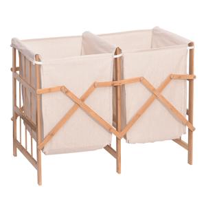 Dvojitý koš na prádlo NORDIS bambus / látka Tempo Kondela