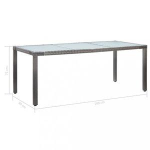 Zahradní stůl šedý polyratan / sklo Dekorhome 190x90x75 cm