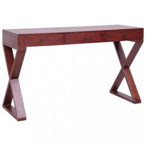 Psací stůl masivní mahagonové dřevo Dekorhome Hnědá