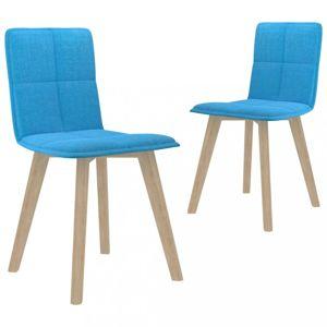 Jídelní židle 2 ks látka / buk Dekorhome Modrá