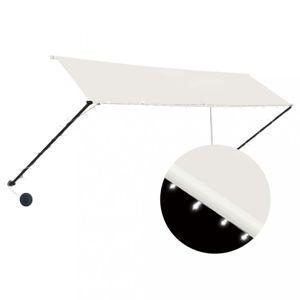 Zatahovací markýza s LED světlem 350x150 cm Dekorhome Krémová