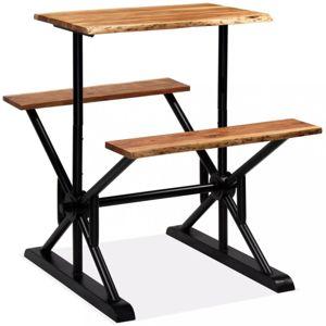 Barový stůl s lavicemi černá / hnědá Dekorhome 80 cm