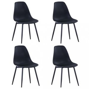Jídelní židle 4 ks plast / kov Dekorhome Černá