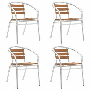 Stohovatelné zahradní židle 4 ks stříbrná / hnědá Dekorhome