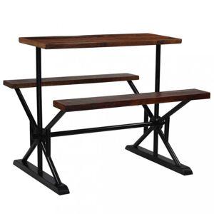 Barový stůl s lavicemi černá / hnědá Dekorhome 120 cm