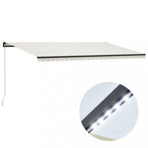 Ručně zatahovací markýza s LED světlem 600x300 cm Dekorhome Krémová