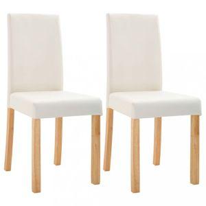 Jídelní židle 2 ks umělá kůže / dřevo Dekorhome Krémová