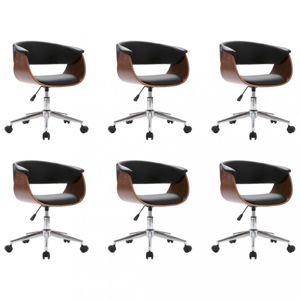 Otočné jídelní židle 6 ks Dekorhome Černá / hnědá