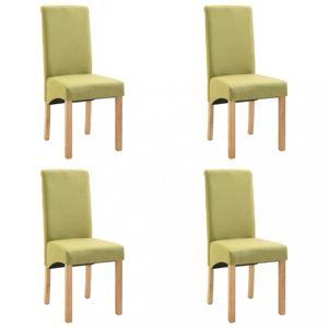 Jídelní židle 4 ks látka / dřevo Dekorhome Zelená