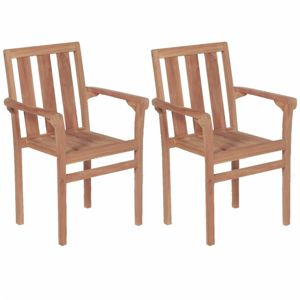 Stohovatelné zahradní židle 2 ks teakové dřevo Dekorhome