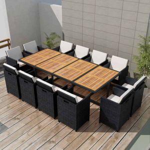 Zahradní jídelní set 37 ks polyratan Hnědá / černá