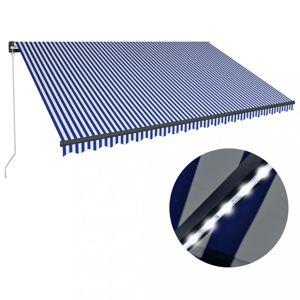 Ručně zatahovací markýza s LED světlem 500x300 cm Dekorhome Bílá / modrá