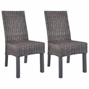 Jídelní židle 2 ks ratan / mangovník Dekorhome Hnědá