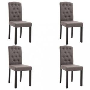 Jídelní židle 4 ks látka / kaučukovník Dekorhome Šedohnědá