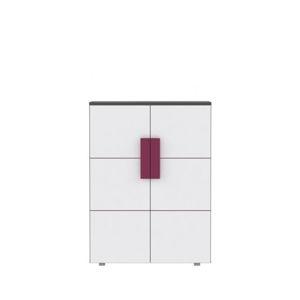 Komoda dvoudveřová LOBETE 40 šedá / bílá / fialová  Tempo Kondela