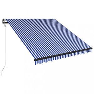 Automatická zatahovací markýza 300x250 cm Dekorhome Bílá / modrá