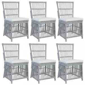 Jídelní židle 6 ks šedý ratan Dekorhome