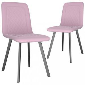 Jídelní židle 2 ks samet / kov Dekorhome Růžová