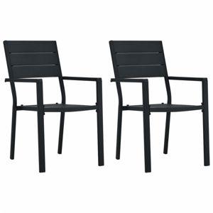 Zahradní židle 2 ks HDPE dřevěný vzhled Dekorhome Černá
