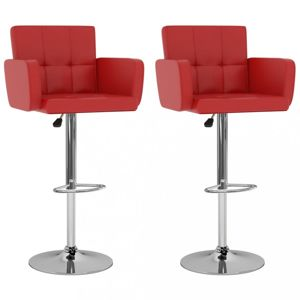 Barové židle 2 ks umělá kůže / kov Dekorhome Červená